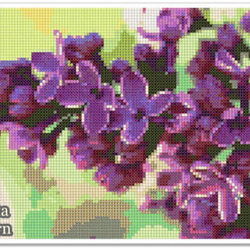 Lilac flower Cross Stitch Pattern, Lilac flower Home decor x stitch pattern, Cross stitch Embroidery, Embroidery pattern