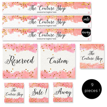Premade etsy shop set- Etsy banner - Avatar- Watercolor Graphics - Gold confetti banner