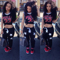 "Black ""BULLS 33"" Crop Top Stars Printed Drawstring Pants Set"