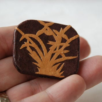 Brown Brooch Hanji Paper Pin OOAK Dress Clip Bamboo Design Brown Beige Stainless Steel Pin Handmade