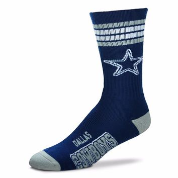DALLAS COWBOYS 4 STRIPE BLUE CREW SOCKS SIZE YOUTH NEW FOR BARE FEET
