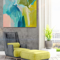 """Calm Spring Colors. Original Contemporary Large Blue, Green Abstract Oil Painting on Canvas 40 x 40"""" Not stretched"""