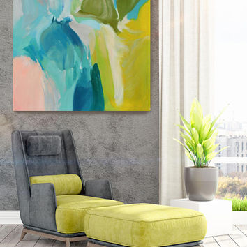 "Calm Spring Colors. Original Contemporary Large Blue, Green Abstract Oil Painting on Canvas 40 x 40"" Not stretched"