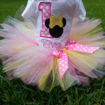 Minnie Mouse inspired Birthday Tutu Outfit with Number and Monogram- Pink, Yellow and White