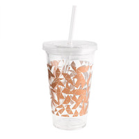 J.Crew Womens Metallic Triangles Travel Cup With Straw