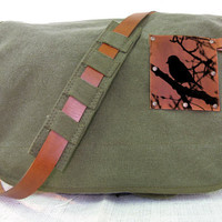 canvas messenger bag with leather accents bird in tree bag - olive green