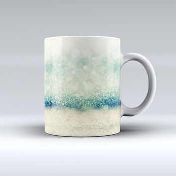 The Teal and Gold Unfocused Orbs of Light ink-Fuzed Ceramic Coffee Mug