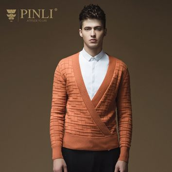 2017 Sale Standard Pullovers V-neck Sweater Men Pinli Pinly New Spring Men's Fashion Sweater V Deep Personality Male B163210100