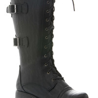 Black Faux Leather Metal Accent Lace Up Boots