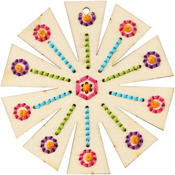 Wood Petal Flower Punched For Cross Stitch Kit-