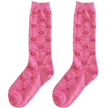 GUCCI autumn and winter in the tube school wind wild double knit pile piles socks Pink
