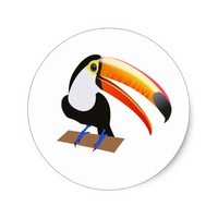 Cheeky toucan classic round sticker