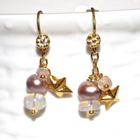Pearl Tiny Star Charm Blush Gold Earrings Ethiopian Opal Gold Vermeil Dangle Drop Cluster Earrings Fizz Candy Handcrafted Gemstone Jewelry