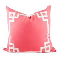 Greek Key Trim Pillow - Coral