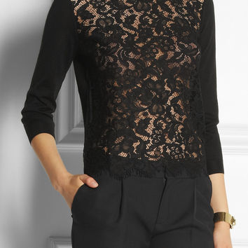 Dolce & Gabbana | Lace-front sweater | NET-A-PORTER.COM