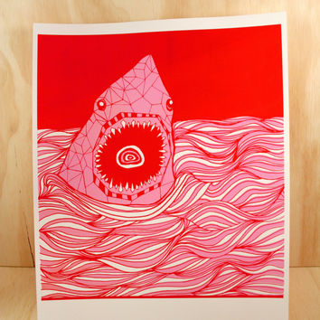 Shark Waves Print
