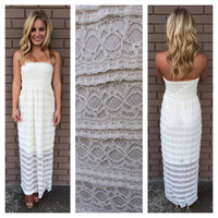 Ivory Ruffle Lace Maxi Dress