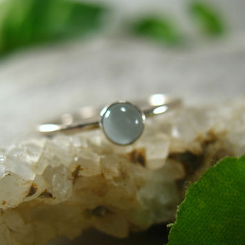 Stacking Ring Silver Aquamarine Gemstone