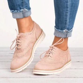 Plus Size Rubber Brogue Shoes Woman Platform Oxfords British Style Creepers Cut-Outs Flat Casual Women Shoes 5 Colors BeautyFeet