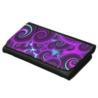 Purple Swirl Fractal Art Pattern Wallets