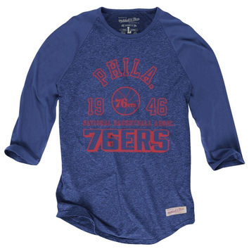 Philadelphia 76ers Mitchell & Ness Established Raglan 3/4 Sleeve T-Shirt – Royal Blue