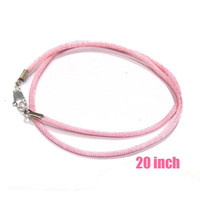 20 Inch -- Pink Satin Necklace Cord with Silver Plated Lobster Clasp