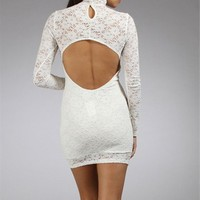 White Mock Neck Lace Dresses