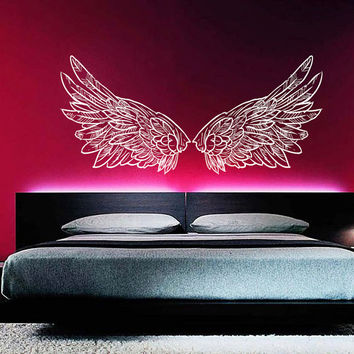Wall Decal Vinyl Sticker Decals Home Decor Art Mural Big Wings Bird Angel God Guardian Nursery Children Kids Bedroom Dorm AN304