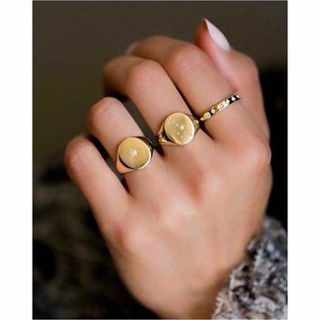 Dainty Start Signet Gold Plated Ring.