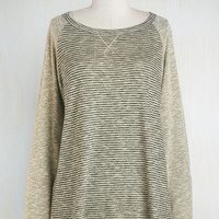 Mid-length Long Sleeve One, Two, Three, Knit It! Top in Sand by ModCloth