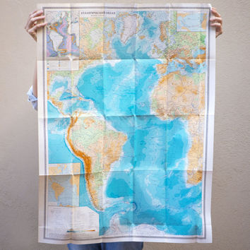 Large vintage map Atlantic Ocean, map in Russian unused, political and physical wall map Brazil Canada, Soviet time map suitable for framing