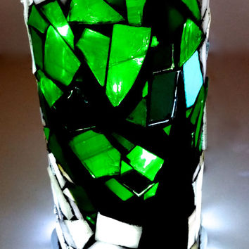 Mosaic Light Up Bottle. Stained Glass Boho Unique Art Lamp. Hippie Tree Home Decor. OOAK Repurposed Wine Bottle.