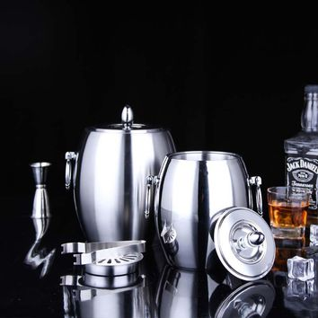 Stainless Steel Double-Wall Ice Bucket With Lid Decorative Metal Champagne Wine Cooler Barware and Drinkware With tong