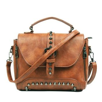 Vintage Leather Rivet Bags Handbags Women Crossbody Bags Messenger
