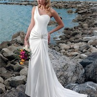 One-shoulder strap sweep train satin mermaid Beach Wedding Dresses WDB023