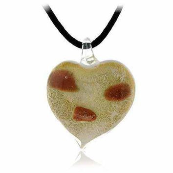 Murano Glass Bronze Gold Color Glitter White Heart Silk Pendant Necklace