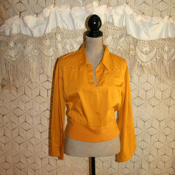 70s 80s Retro Roller Derby Roller Skating Top Long Sleeve Top Hip Hop Bell Sleeve Yellow Goldenrod Disco Costume Large XL Womens Clothing