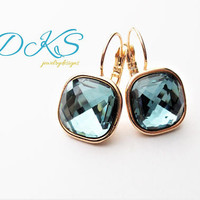 Indian Sapphire, Swarovski 12mm Classical Square Earrings, Rose Gold, Drops, Bridal, Blue, DKSJewelrydesigns, FREE SHIPPING