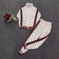 """""""Gucci"""" Woman's Leisure Fashion Letter Personality Printing Zipper Long Sleeve Trousers Two-Piece Set Casual Wear"""
