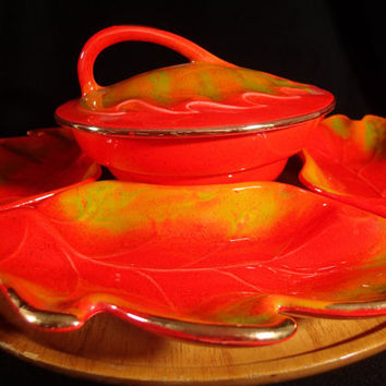 Lazy Susan Appetizer snack set Fall color tableware California USA orange  mid century art pottery snack serving set Fall Leaves Leaf motif