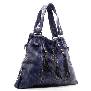Fringe Denim Zipper Tote Bag Purse