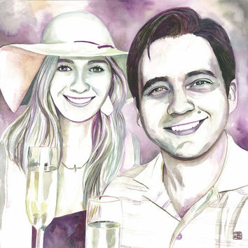 SPECIAL GIFT for him her for PAPER anniversary - Watercolor custom portrait