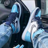 Air Jordan 1 Fashion Women Men Casual Sport Basketball Shoes Sneakers Black&White&Blue