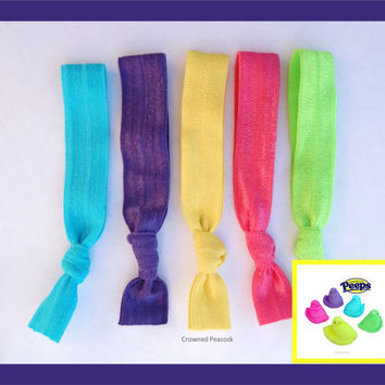 5 PEEPS Elastic HAIR TIES, Peeps Collection,   Easter Basket Gift - No Tug, Dent, Gifts for Girls, Teen or Moms