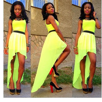 Lemon Sleeveless Asymmetrical hem Maxi Dress