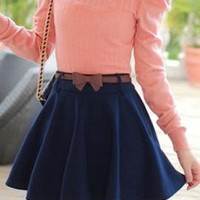 Hopeless Romantic Lace Trim A-line Skirt in Navy Blue | Sincerely Sweet Boutique