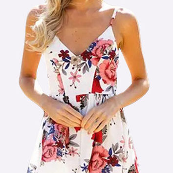 White Floral Print Strappy V-Neck Playsuit