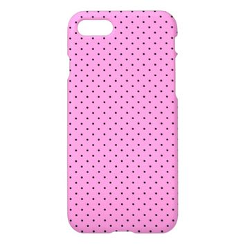 Cute Pink and Black Polka Dot Pattern iPhone 7 Case