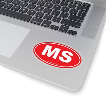 Mississippi MS Euro Oval Sticker SOLID RED