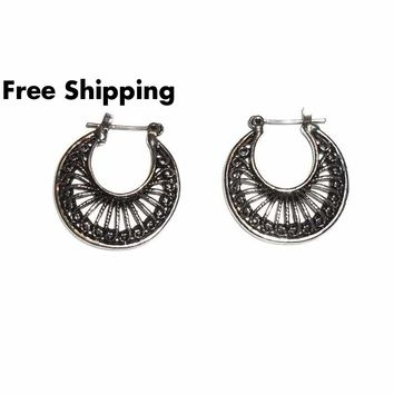Antique Silver  Classic Gypsy Style Medium Hoop Earrings